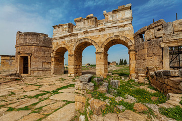 Ruins of ancient city, Hierapolis near Pamukkale, Turkey