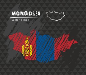 Mongolia map with flag inside on the black background. Chalk sketch vector illustration