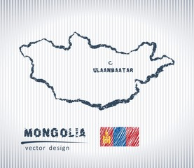 Mongolia national vector drawing map on white background