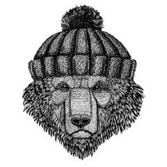 Cool animal wearing knitted winter hat. Warm headdress beanie Christmas cap for tattoo, t-shirt, emblem, badge, logo, patch