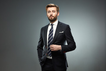 A man in a business suit.