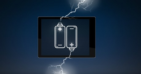 Tablet struck with lightning power battery charge