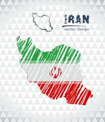 Map of Iran with hand drawn sketch pen map inside. Vector illustration
