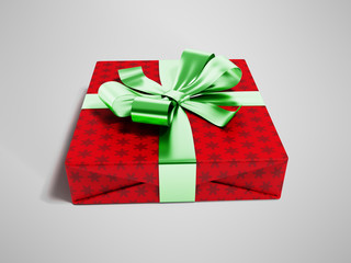 Gift wrapped in red paper with a green bow and ribbons for a gift for the new year on the day of birth for a praise 3d render on gray background with shadow