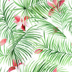 Watercolor palm leaves and tropical flowers pattern. Green exotic background for your design.