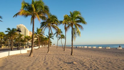 Fototapete - Fort Lauderdale beach on sunrise. Raw video source.