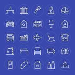 Modern Simple Set of transports, industry, buildings, furniture Vector outline Icons. Contains such Icons as church,  machine,  religion and more on blue background. Fully Editable. Pixel Perfect.