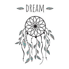 "Vector illustration in Scandinavian style ""dream catcher"". White background."