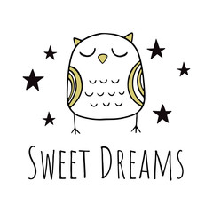 "Nice owl. Vector illustration in Scandinavian style. Illustration for the bedroom. The inscription in the Scandinavian style "" sweet dreams""."