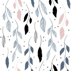 Vector seamless pattern in floral style. Scandinavian motives. Cute print