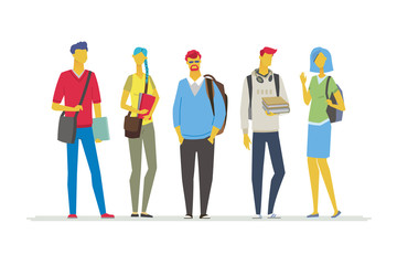 Students - flat design style colorful illustration