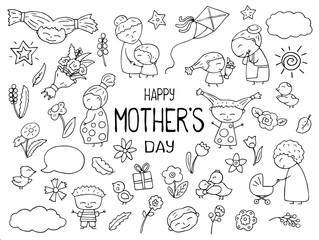 Happy Mother Day black white vector clipart. Mom and child outlined icon. Childish doodles with happy children