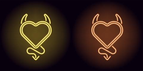 Neon devil heart in yellow and orange color