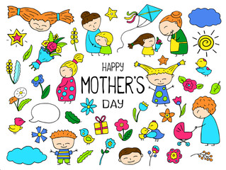 Happy Mother Day colorful vector clipart. Mom and child vibrant icon. Childish doodles with happy children