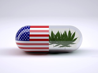 Pill with American flag wrapped around it and marijuana leafs inside