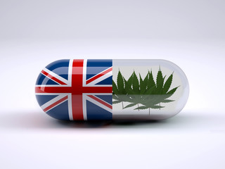 Pill with England flag wrapped around it and marijuana leafs inside