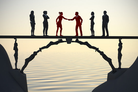 Human bridge merging teams at dusk 3d render. A bridge made of people helps in the merging of two teams with a handshake at dusk.