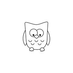 Vector cartoon outline owl