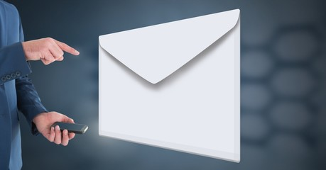 Envelope letter message and man using phone