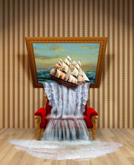 the illusion of a waterfall from the picture. Room with striped Wallpaper, red vintage sofa, a picture of the seascape leaned over and out of it poured water and drop ship.