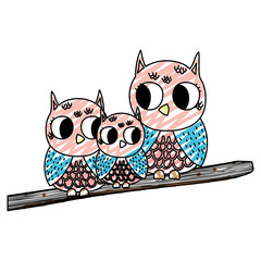 doodle family owl cute animals in the branch