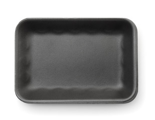 Black empty foam food tray