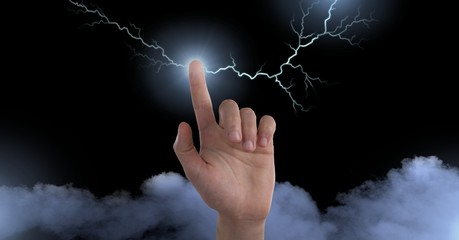 Lightning strikes and finger sparking electricity