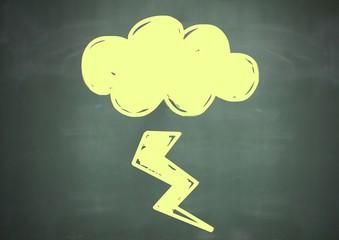 lightning cloud doodle on blackboard