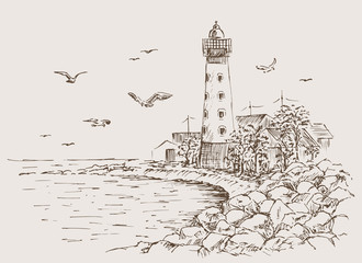 Landscape sketch of the lighthouse and the sea. Gulls, trees, house. Lighthouse sketch. Hands drawn to the rocky beach. Vectory illustration.