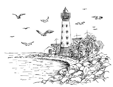 Landscape Lighthouse. Sea and seagulls sketch. Hand painted lighthouse and the sea. Rocky shore graphics. Vector illustration.