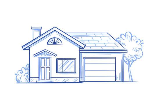 village house vector
