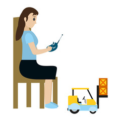 woman sitting and playing with industrisla forklit packages
