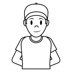 line happy man with cap and t-shirt design