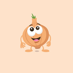 Illustration of cute surprised onion mascot with big smile isolated on light background. Flat design style for your mascot branding.