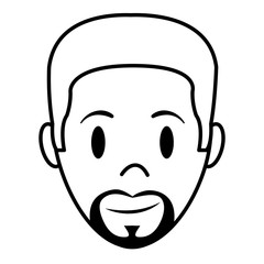 line happy man head with hairstyle and beard
