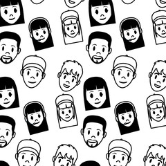 line women and men head facial expression background