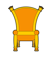 Royal throne isolated. Gold regal chair vector illustration