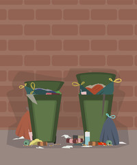 outdoor trash cans full of garbage cartoon