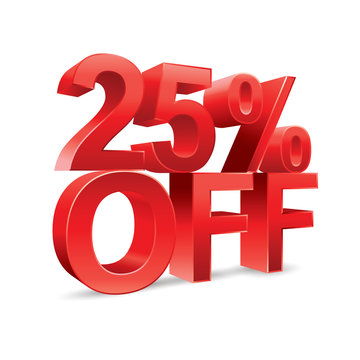 25 percent off Promotional discount on white background