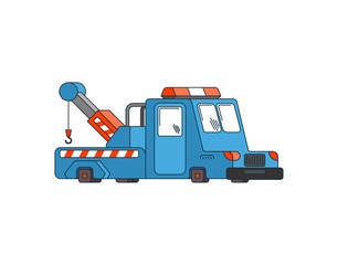 Tow truck isolated. Wrecker for Evacuates auto. Help on road. Vector illustration