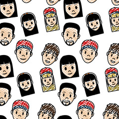 doodle women and men head facial expression background