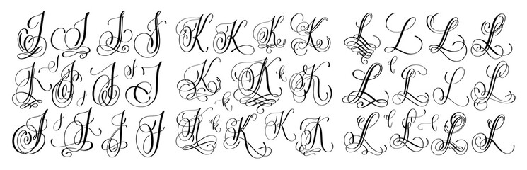 calligraphy letters set J, K and L, script font Isolated