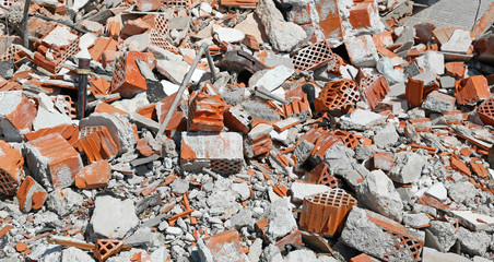 background of debris with bricks and cement