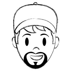 grunge happy man head with cap and beard
