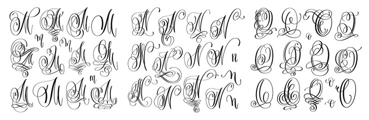 Calligraphy Letters Set M N And O Script Font