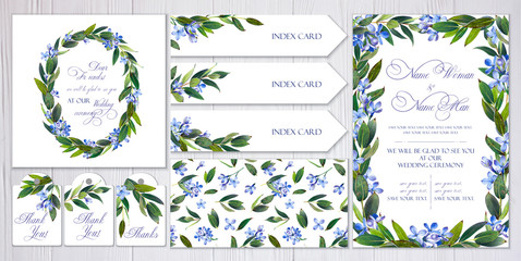 Set of templates for greetings, invitations to wedding. Blue lilac and twigs with leaves. Art by markers: invitation, card, letterhead, numbering for tables, seamless pattern. Watercolor imitation.