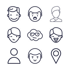 Set of 9 face outline icons
