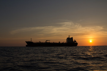 Tanker ship passing the Similan islands in the Adaman Sea in Thailand