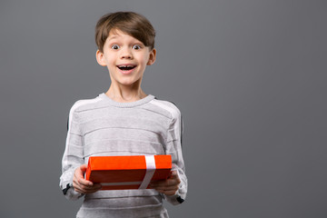 Great gift. Joyful nice boy smiling while being happy about the present