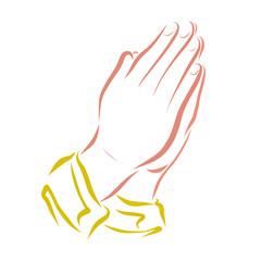Hands folded in prayer, religion